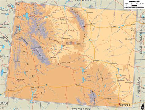 Physical Map of Wyoming - Ezilon Maps