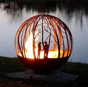 The Winter Woods Peaceful Birch Tree Fire Pit Sphere Seems
