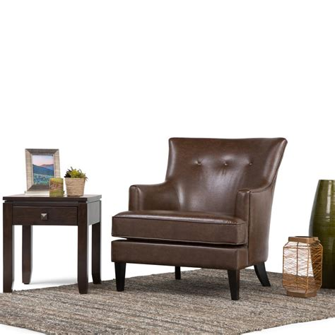 simpli home galway distressed brown leather club arm chair