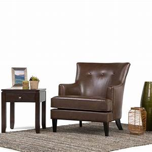Simpli Home Galway Distressed Brown Leather Club Arm Chair ...