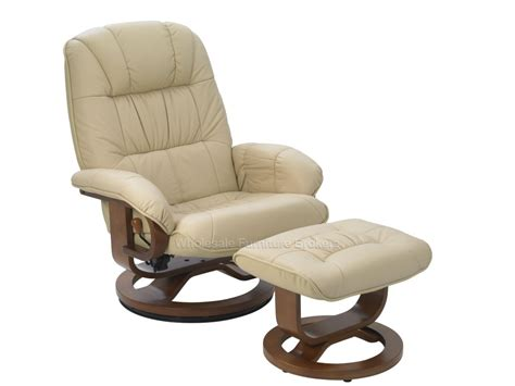 stressless style buff leather swivel recliner chair and