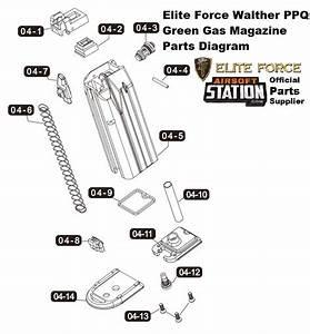 Umarex Elite Force  Vfc Walther Ppq Green Gas Pistol Parts