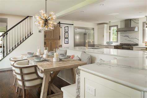 Island Booth Seating by Bright Modern Kitchen With L Shaped Island With Built In