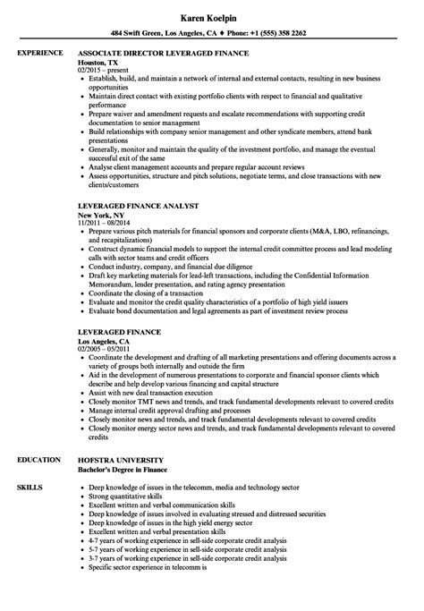 Finance Resume by Leveraged Finance Resume Sles Velvet