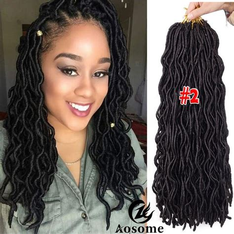 "20"" Freetress Wavy Faux Locs Hair Extensions Goddess"
