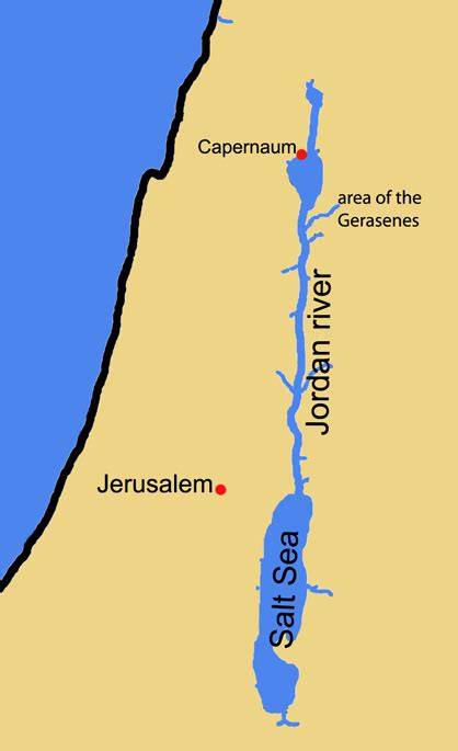 Map of Galilee and Dead Sea