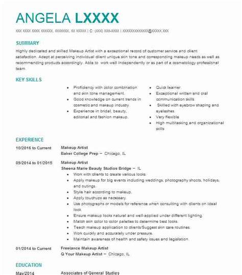 makeup artist resume objectives resume sample livecareer