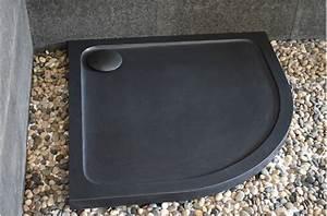 Quart De Rond : receveur de douche en pierre noire 1 4 rond 90x90 lagoon ~ Melissatoandfro.com Idées de Décoration