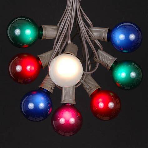multi colored satin g50 globe outdoor string light set on