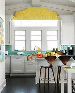 turquoise and yellow kitchen contemporary kitchen With what kind of paint to use on kitchen cabinets for art for yellow walls