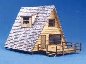 a frame cabin kits laser cut wood kit a frame cabin w deck includes peel stick ultra shingle tm n scale by