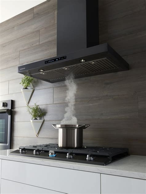 samsung nkkwg   smart wall mount chimney range hood  wi fi  bluetooth