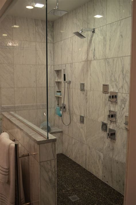 walk  shower  carrara marble kohler loure fixtures