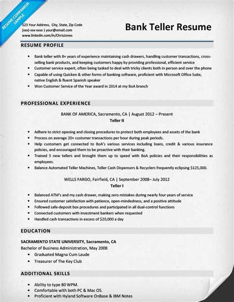 Bank Teller Resume by Bank Teller Resume Sle Writing Tips Resume Companion