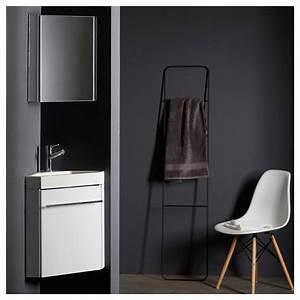 Lave Main Angle : lave main d 39 angle suspendu avec meuble blanc pas cher ~ Melissatoandfro.com Idées de Décoration