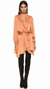 lyst zimmermann empire brushed silk robe dress in orange With robe style empire