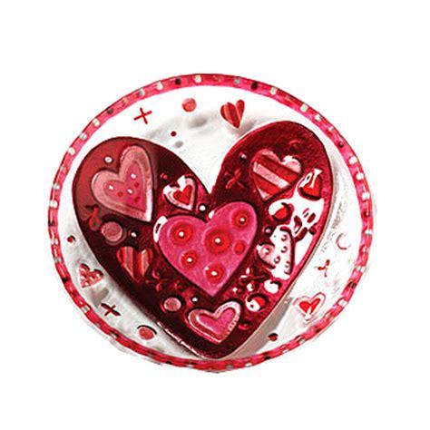 demdaco glass fusion heart plate