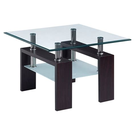 frosted glass end table melanie end table clear and frosted glass dark walnut
