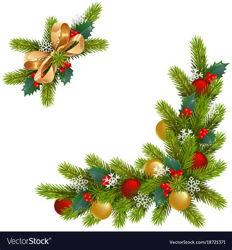 christmas corner decorations royalty  vector image