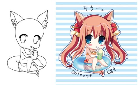Kitsune Summer Base Chibi By Catsoupbases On Deviantart