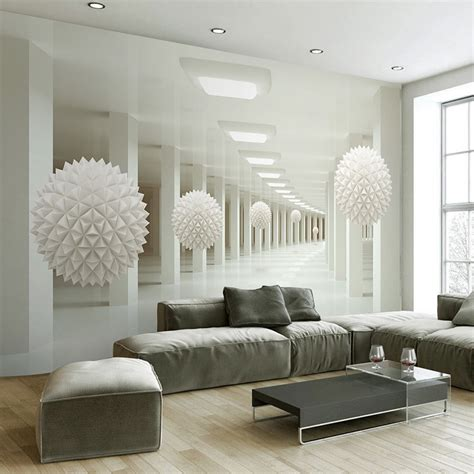 Abstract Wallpaper Room by Modern Simple 3d Stereo Abstract Space White Sphere Mural