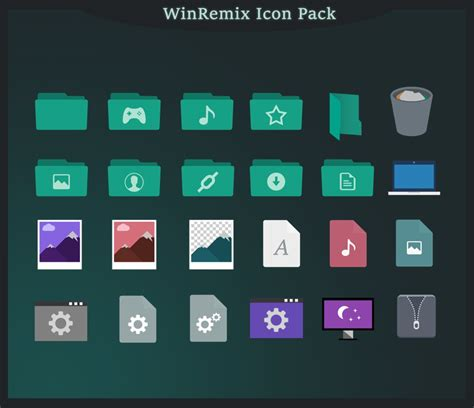 A Pack Of 64 New Folder Icons Winremix Iconpack For Win10 Skinpack Customize Your