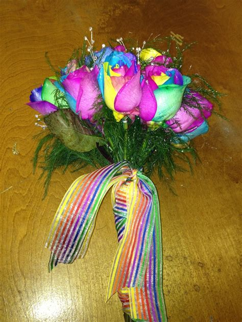 rainbow wedding bouquets bouquet pic awesome flowers roses rose weddings rainbows stuff posted purple