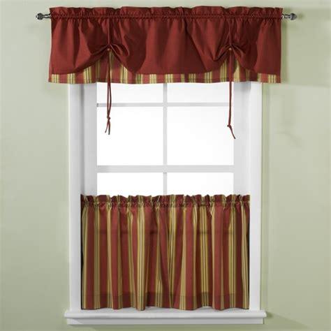 versa tie lisa stripe window curtain tiers  valance