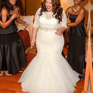 2016 plus size mermaid lace wedding dresses with half for Cheap plus size lace wedding dresses