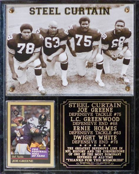 steelers the steel curtain steel curtain pittsburgh steelers photo card plaque greene