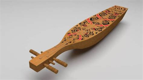 Sape yang dalam bahasa dayak sendiri berarti memetik dengan jari. Kumpulan Alat Musik Tradisional Indonesia Beserta Gambarnya - Borneo Channel