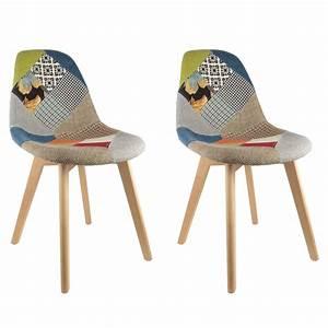 Chaise Bébé Scandinave : lot de 2 chaises design scandinave patchwork color ~ Teatrodelosmanantiales.com Idées de Décoration