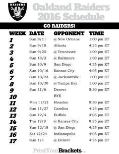 printable  oakland raiders football schedule