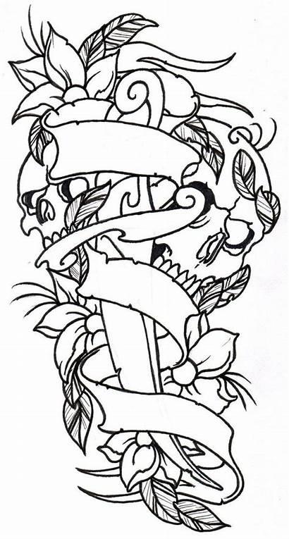 Skulls Tattoo Outline Dagger Flower Flowers Skull