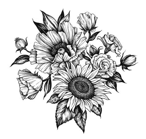 poppy  sunflower commissioned  references inspiration tattoo drawings sunflower