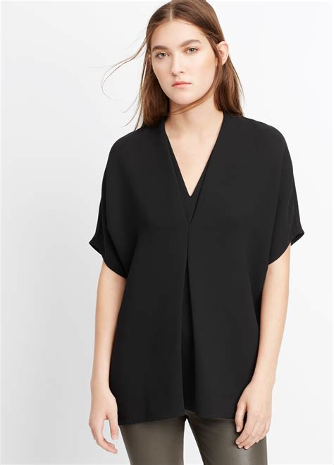 v neck blouses lyst vince sleeve crepe v neck blouse in black