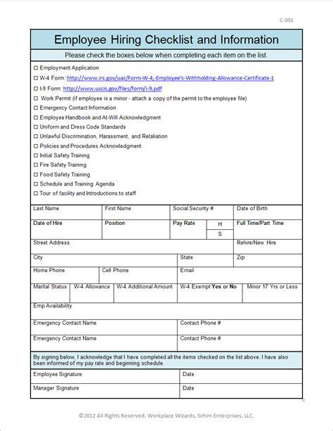 employment information sheet new cumberland pennsylvania restaurant consultants
