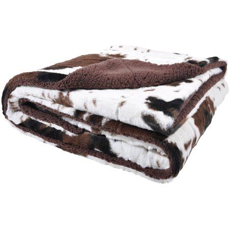 Cowhide Throw Blanket by Cowhide Print And Sherpa Plush Throw Blanket Brown