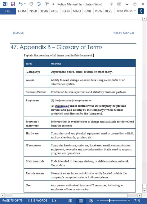 policy template word policy procedures manual templates ms word 68 pages with free checklists templates