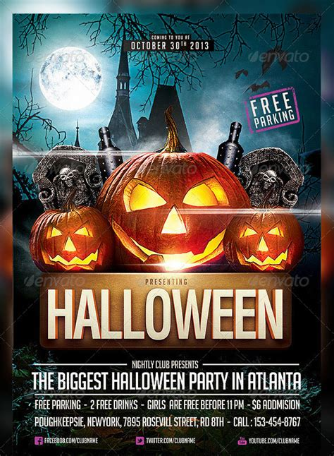 hellacious psd halloween flyer templates  web
