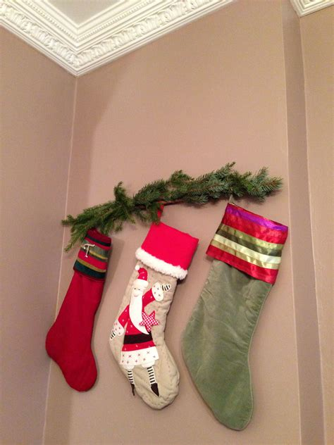 hanging without a mantle ideas mantle and holidays - Hang Stockings Without Mantle