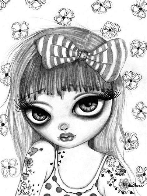 Drina by Dottie Gleason Girl w Girls Rock Tattoo Canvas Fine Art Print | Art prints, Artwork