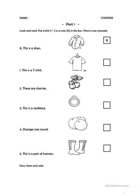 starters part  worksheet  esl printable worksheets