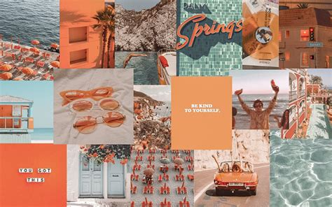 orange and blue collage aesthetic desktop wallpaper