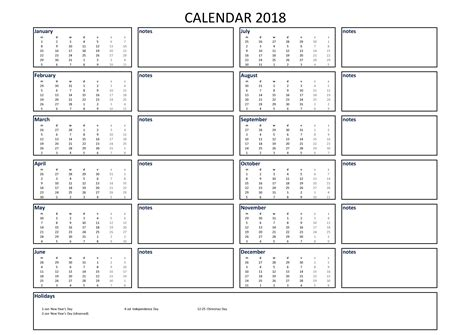 calendar excel  size  notes