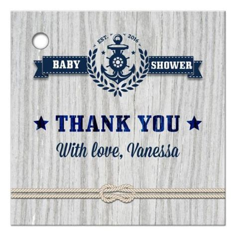 gift favor tag nautical rustic weathered wood baby shower