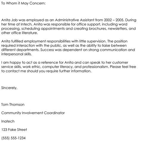 letter of recommendation template for employee employee reference letter template 5 sles that works