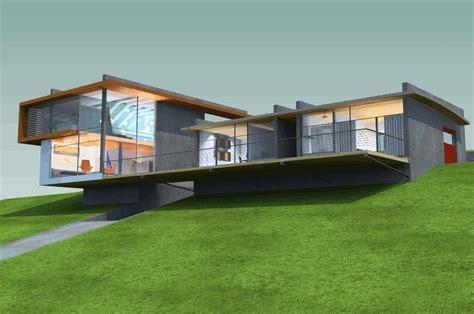 simple slope house plans ideas photo hillside house plans 3d design with field landscape