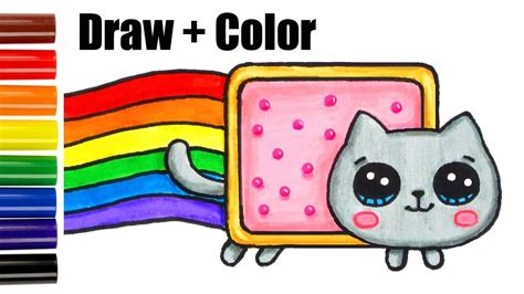 draw color nyan cat step  step easy  cute