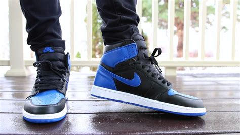 NIKE AIR JORDAN 1 OG u0026quot;ROYALu0026quot; 2017 ON FEET WITH OUTFIT! - YouTube